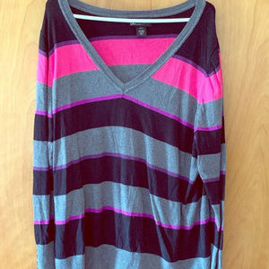 Lane Bryant V Neck Multi Striped Sweater Sz 22/24